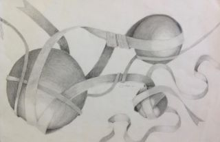 Value Study Ribbon & Sphere Drawings 2016-17 Art 2-3 (Palacios)
