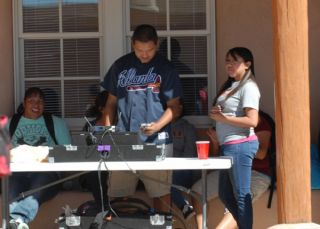 Tenzin DJing the event