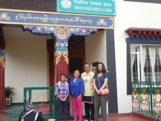 In front of the Tibetan Parliament in Exile