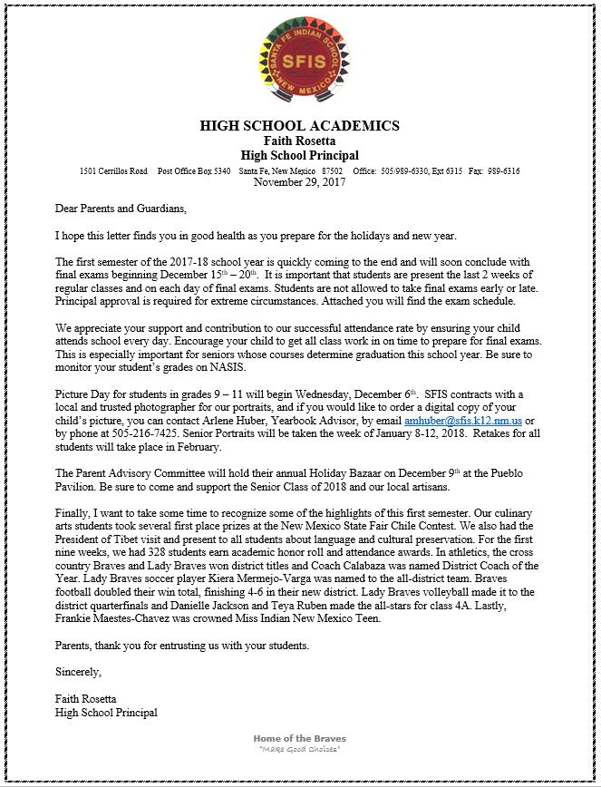 News santa fe indian school letter from hs principal spiritdancerdesigns Gallery