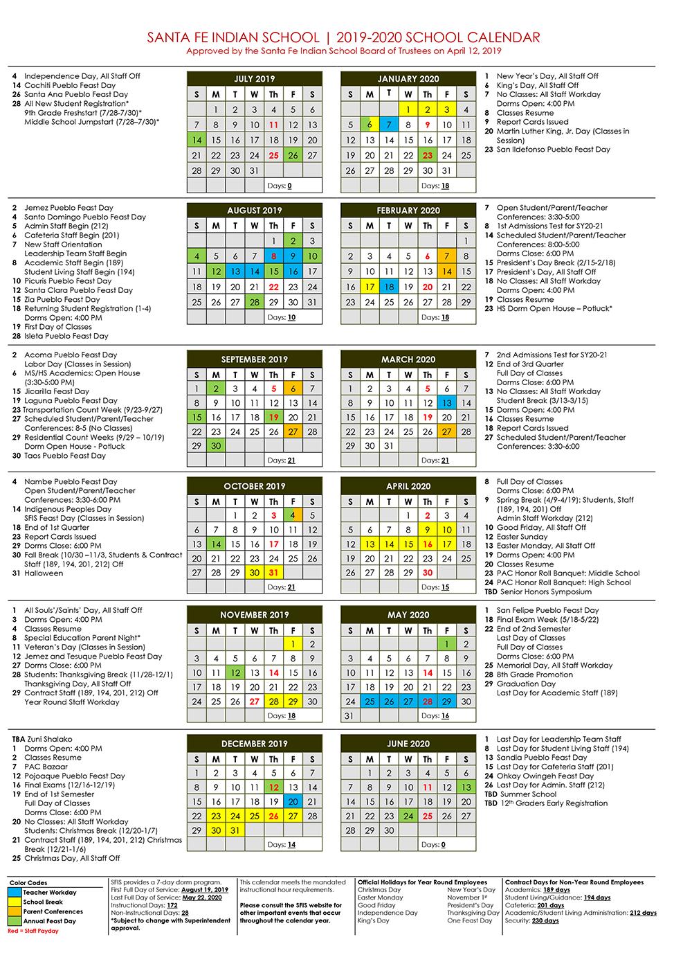 Unm Academic Calendar Fall 2020.Academic Calendar Santa Fe Indian School